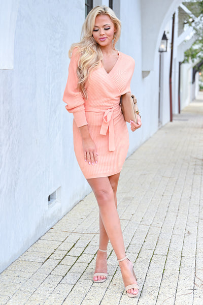 Best Day Ever Sweater Dress - Peach womens trendy long sleeve self-tie belt wrap dress closet candy front 2