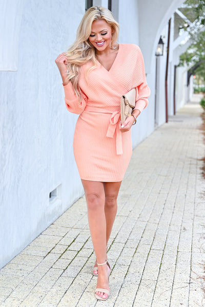 Best Day Ever Sweater Dress - Peach womens trendy long sleeve self-tie belt wrap dress closet candy front