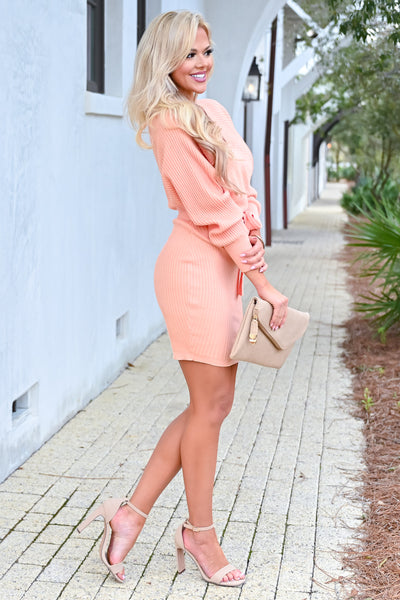 Best Day Ever Sweater Dress - Peach womens trendy long sleeve self-tie belt wrap dress closet candy side