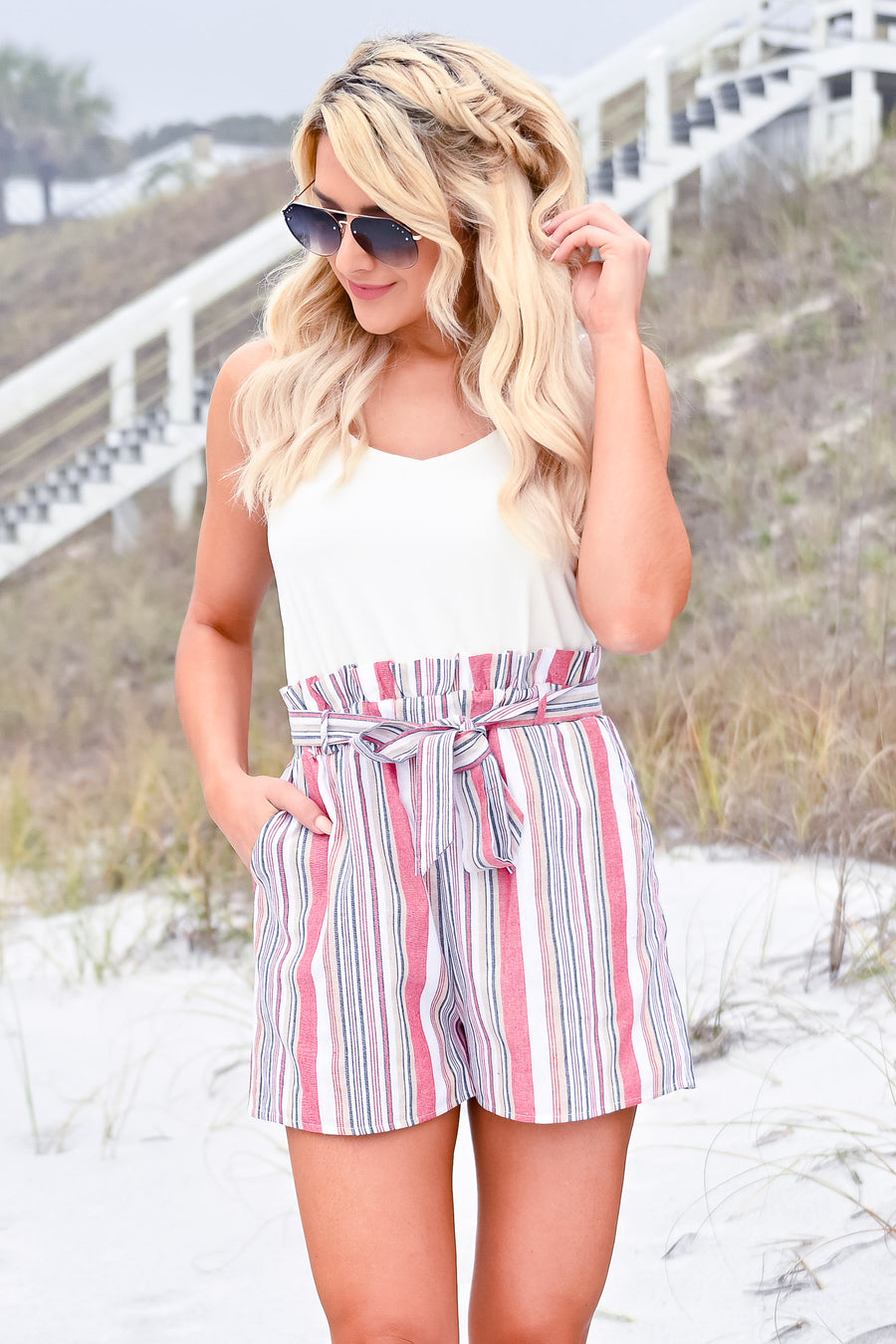 By The Seashore Romper - Red Multi