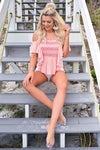 Under The Boardwalk Smocked Top - Blush womens trendy smocked ruffle detail top closet candy front