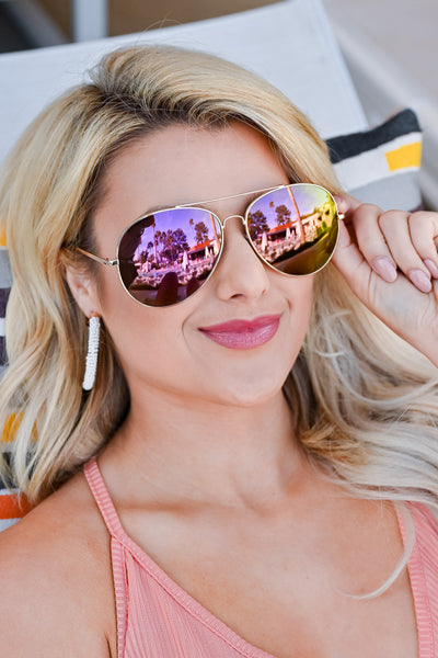 In The Shade Aviator Sunglasses - Assorted Colors womens trendy mirrored aviator sunglasses closet candy blush 2