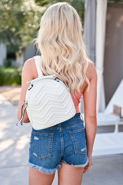 On The Go Backpack - White womens trendy quilted mini backpack closet candy back