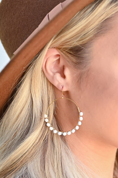 Around Town Earrings - White womens trendy glass bead detail hoop earrings closet candy side