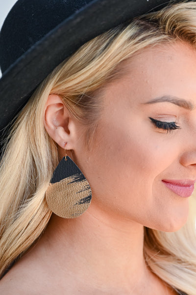 Make A Splash Earrings - Black & Gold womens trendy teardrop earrings closet candy front