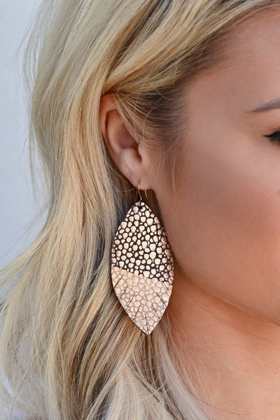 Natural Beauty Earrings - Rose Gold womens trendy feather detail earrings closet candy front