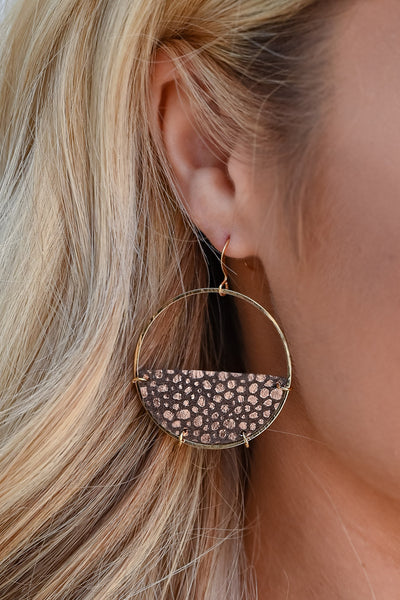 Finish It Up Earrings - Brown & Rose Gold womens trendy bubble detail circle earrings closet candy side