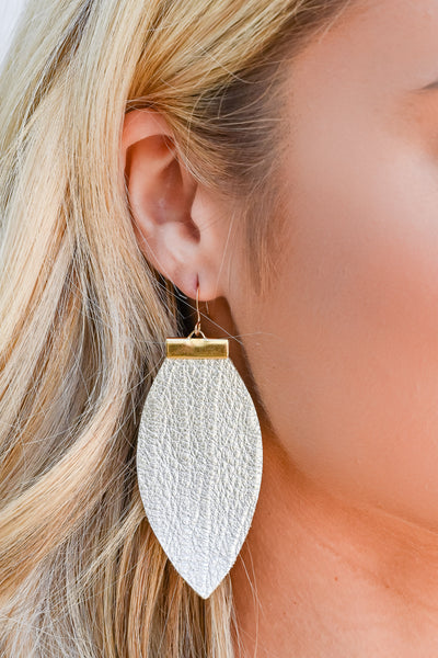 All To Myself Earrings - Champagne womens trendy leaf earrings closet candy side
