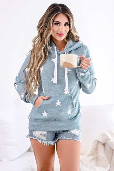 Make Yourself At Home Star Hoodie - Marled Dusty Blue womens casual hooded star print sweatshirt closet candy front