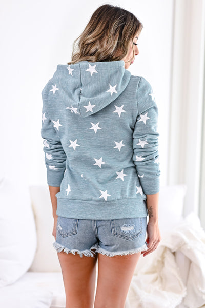 Make Yourself At Home Star Hoodie - Marled Dusty Blue womens casual hooded star print sweatshirt closet candy back