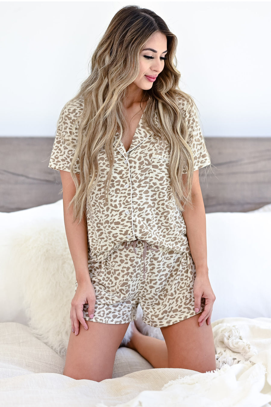 Sleep Well Leopard Pajamas - Ivory & Taupe womens casual button up pajama set closet candy front