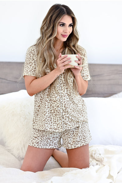 Sleep Well Leopard Pajamas - Ivory & Taupe womens casual button up pajama set closet candy front 3