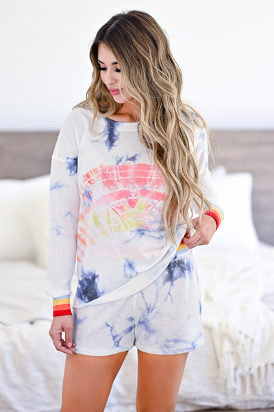 Believe It Or Not Tie Dye Loungewear - White womens trendy tie dye rainbow band lounge set closet candy front 2