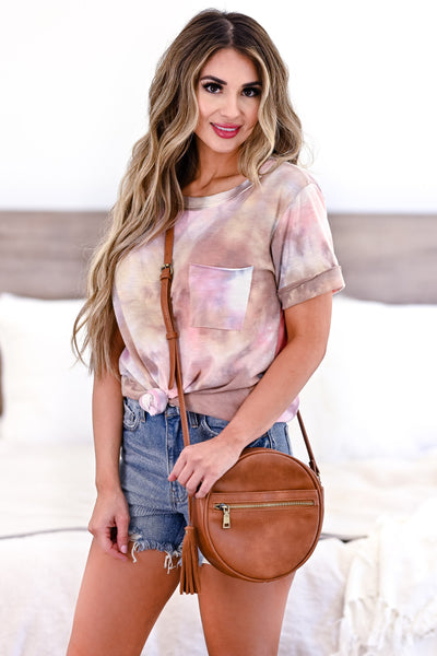 Do You Believe Tie Dye Top - Pink womens casual short sleeve tie dye top closet candy front
