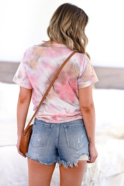 Do You Believe Tie Dye Top - Pink womens casual short sleeve tie dye top closet candy back