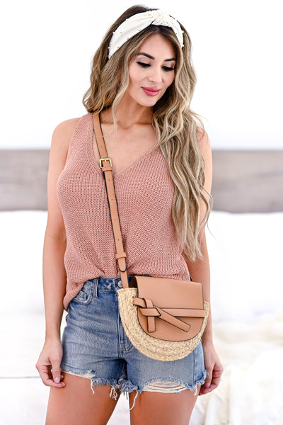 Sunny Days Crossbody Purse - Tan womens trendy straw detail crossbody bag closet candy front 2