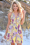 Sunshine On My Mind Halter Dress womens trendy floral print open back halter neck line yellow dress closet candy front
