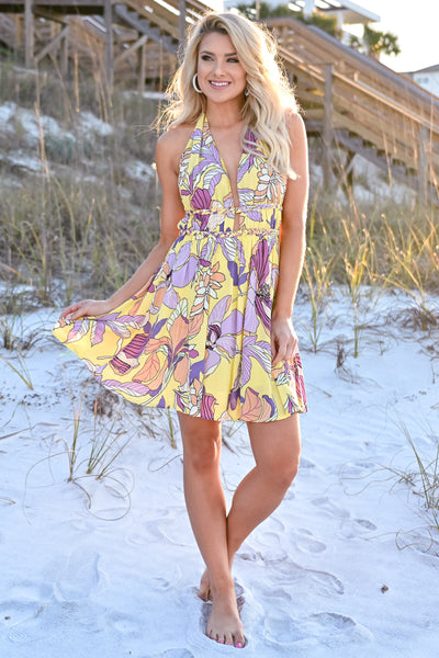 Sunshine On My Mind Halter Dress womens trendy floral print open back halter neck line yellow dress closet candy front 2