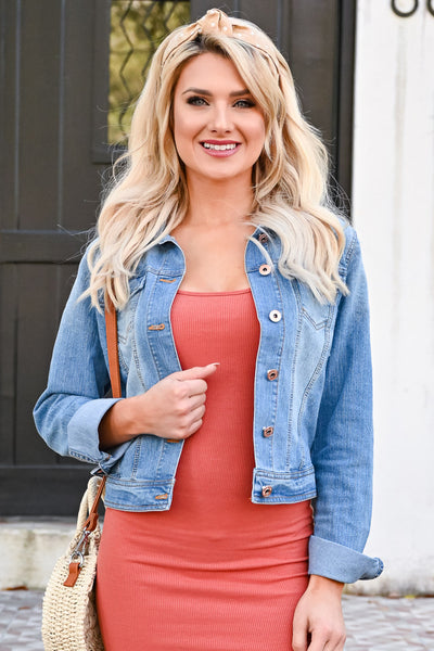 This is Timeless Denim Jacket - Light Wash womens casual cropped jean jacket closet candy front with dress
