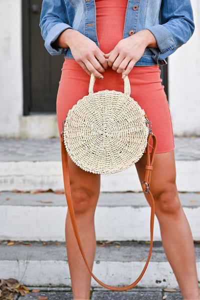 Seaside Round Straw Bag - Natural womens casual round straw bag with zipper closure closet candy front