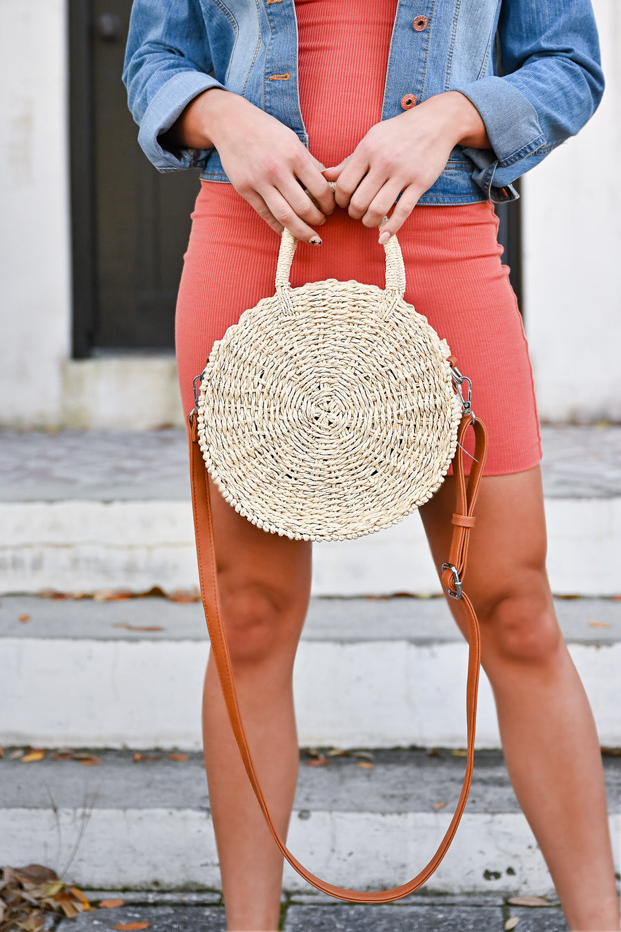 Seaside Round Straw Bag - Natural womens casual round straw bag with zipper closure closet candy side