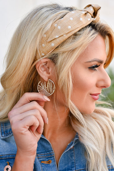 Come To Life Hoop Earrings - Gold womens trendy gold-tone textured hoop earrings with leaf cutout closet candy side