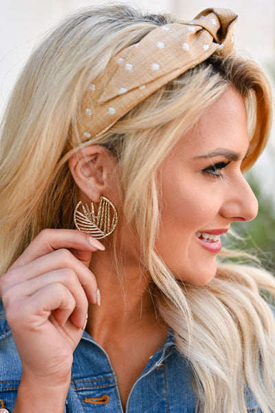 Come To Life Hoop Earrings - Gold womens trendy gold-tone textured hoop earrings with leaf cutout closet candy side 2