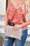 Josie Crossbody Purse  - Taupe womens trendy vegan leather braided design gold-tone purse closet candy front 3