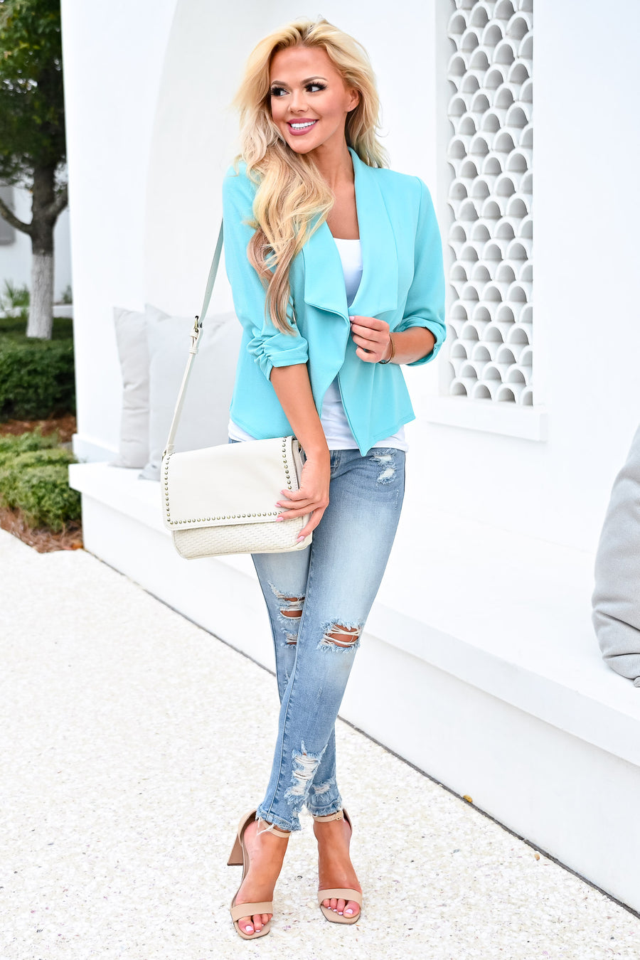 Mind Your Business Blazer - Aqua womens casual 3/4 sleeve chiffon open front blazer closet candy sitting