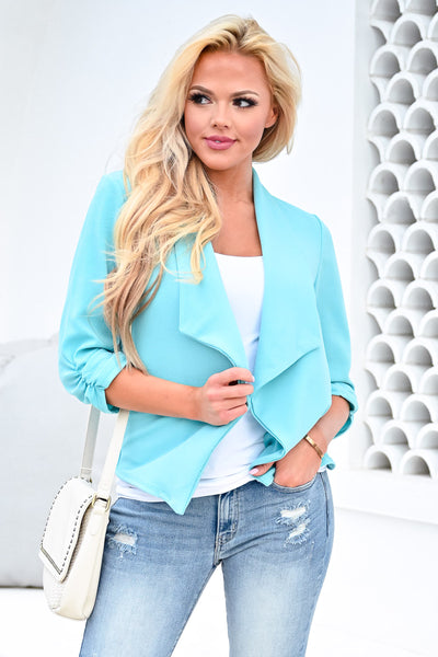 Mind Your Business Blazer - Aqua womens casual 3/4 sleeve chiffon open front blazer closet candy front 3