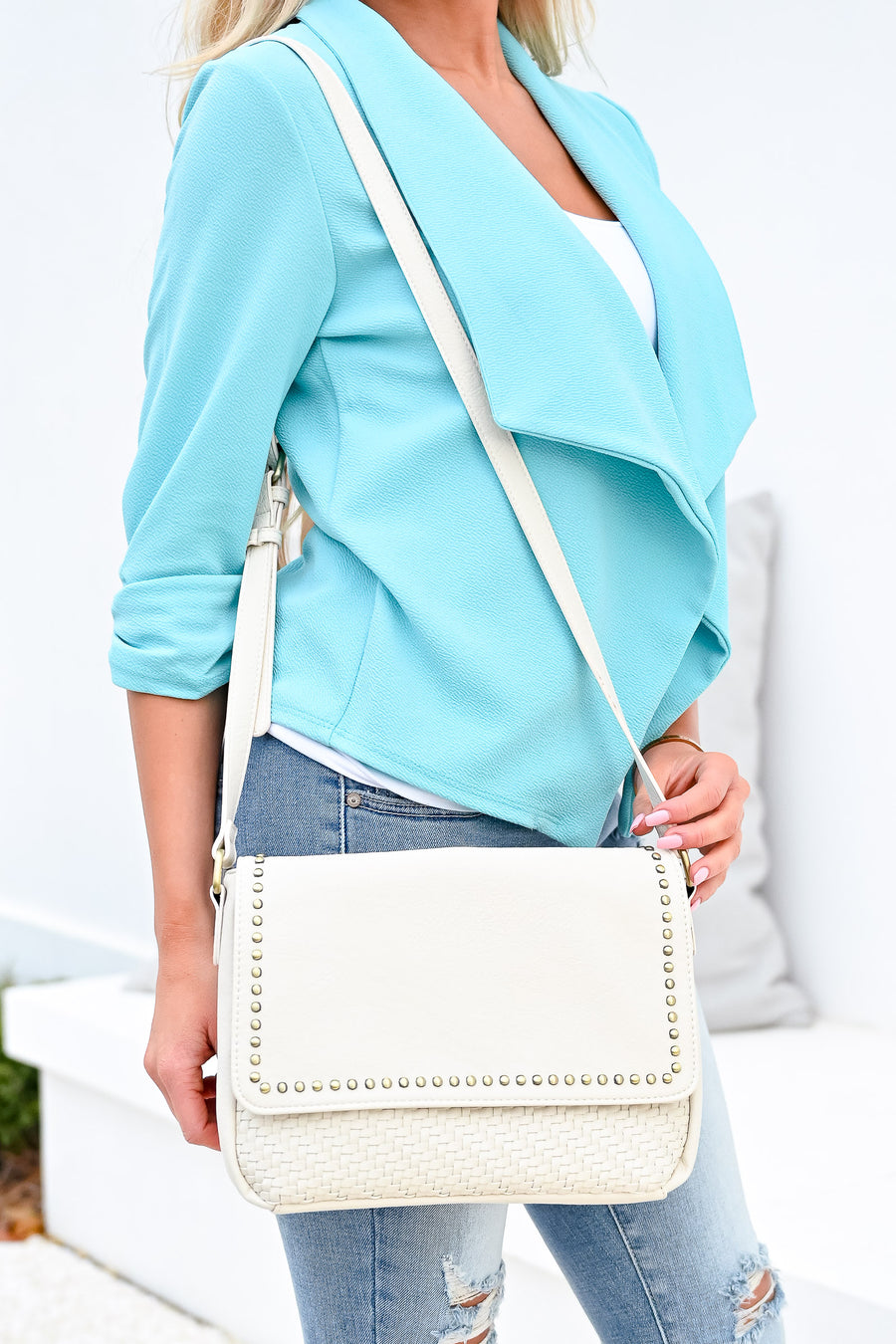 Cassie Crossbody Purse - Bone womens casual vegan leather crossbody purse with studded details closet candy frontb
