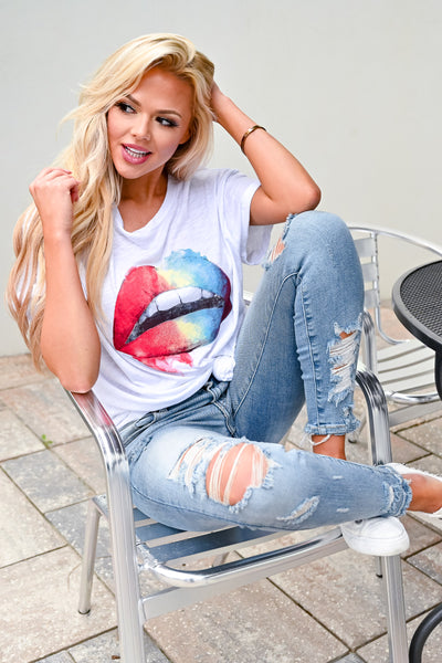 Taste The Rainbow Graphic Tee - White womens casual round neck cuffed sleeves rainbow lips graphic tshirt closet candy sitting