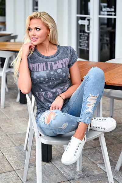 """Pink Floyd"" Graphic Tee - Vintage Black womens casual short sleeve pink floyd distressed graphic tee closet candy sitting 2"