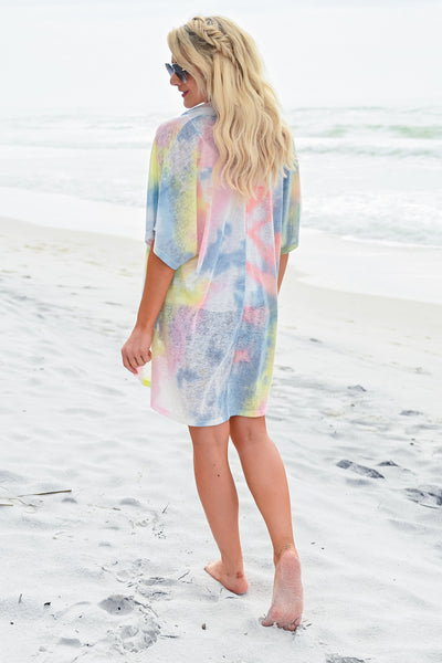 Weekends in Watercolor Kimono womens casual short sleeve open front tie dye kimono closet candy back