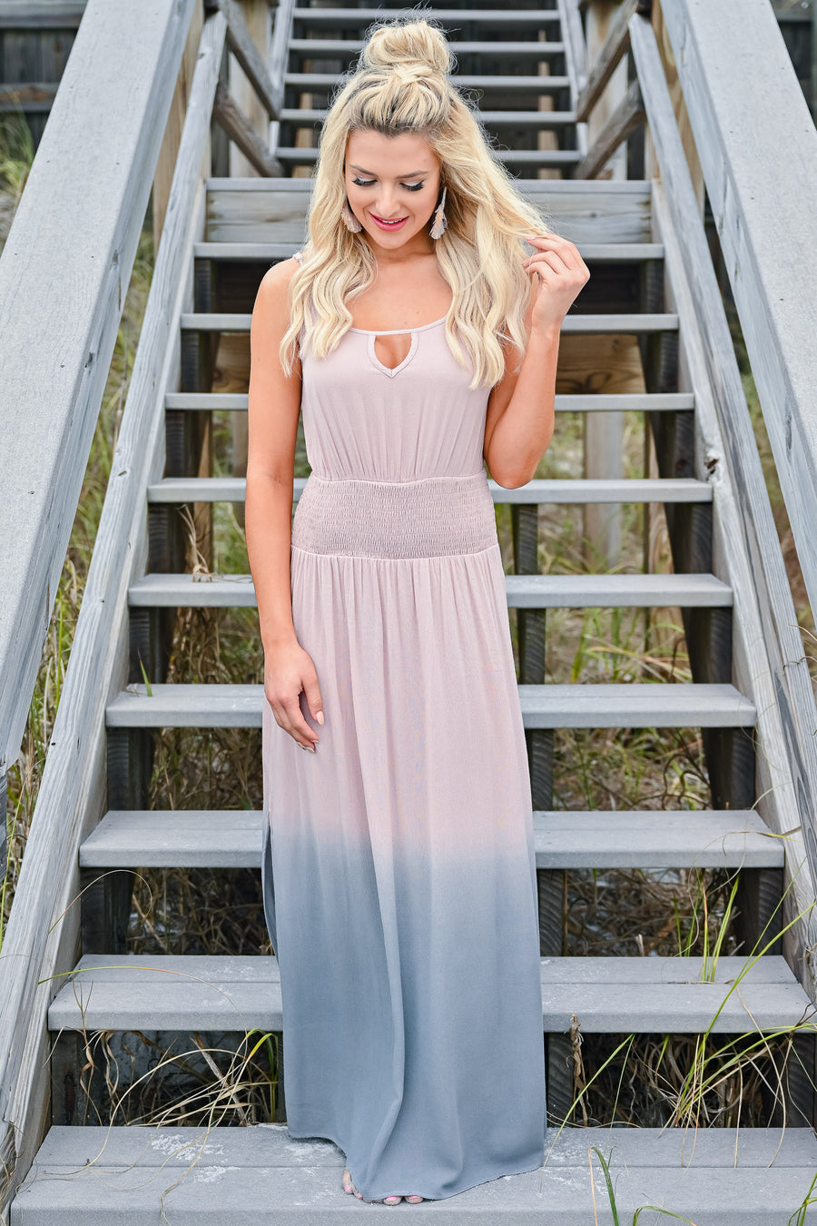True Connection Ombre Maxi Dress - Dusty Rose womens trendy ombre sleeveless keyhole detail maxi dress closet candy front