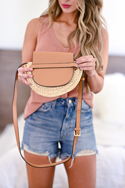 Sunny Days Crossbody Purse - Tan womens trendy straw detail crossbody bag closet candy front 3