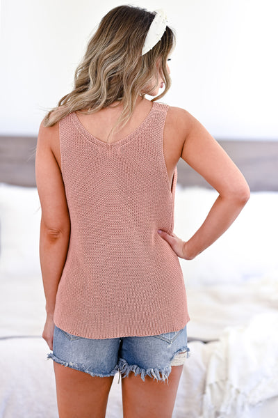 Don't Worry Knit Tank Top - Dusty Peach womens trendy knit detail tank top closet candy back