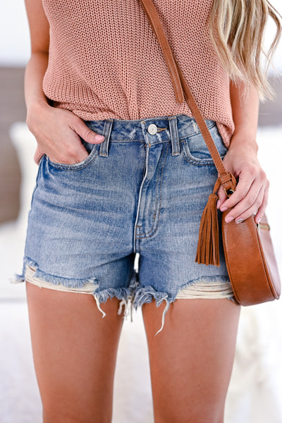 VERVET High Rise Kasey Denim Shorts - Medium Wash womens trendy high rise distressed jean shorts closet candy front