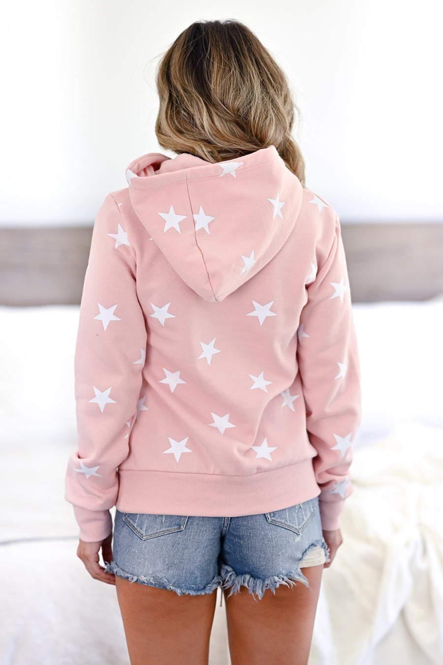 Make Yourself At Home Star Hoodie - Blush womens casual star print long sleeve hoodie closet candy front