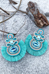 Celebrate Yourself Earrings - Turquoise womens trendy tassel jewel detail earrings closet candy flatlay