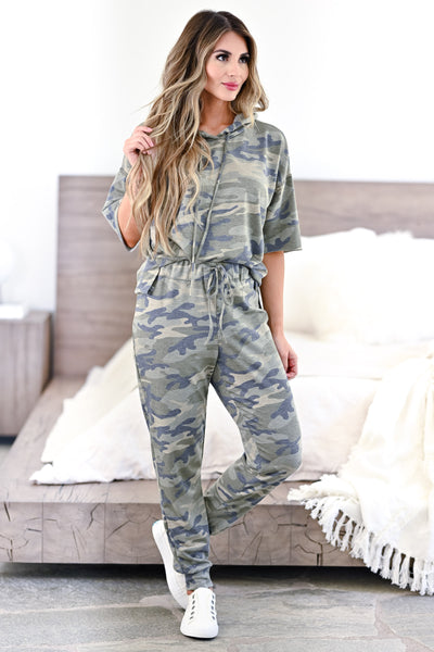 Relaxing on the Weekend Loungewear - Camo womens casual hooded camo loungewear closet candy front