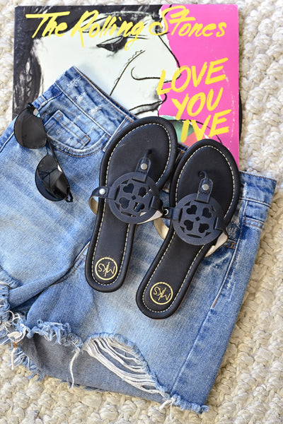 MSK Essential Sandals - Black womens trendy flip flop sandals closet candy flatlay