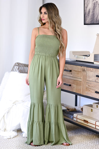 Stand Your Ground Jumpsuit - Olive womens trendy adjustable strap closet candy front
