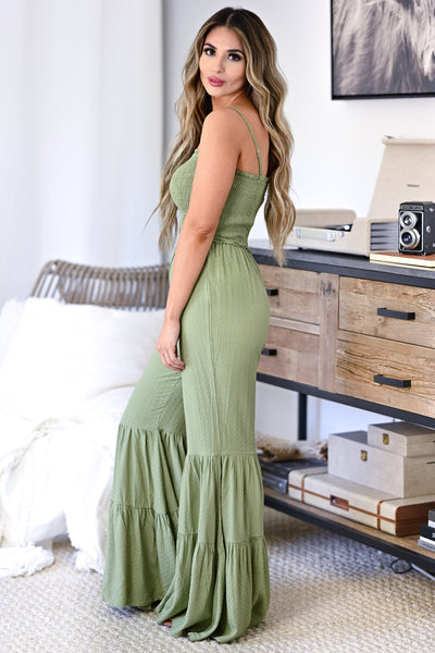 Stand Your Ground Jumpsuit - Olive womens trendy adjustable strap closet candy side