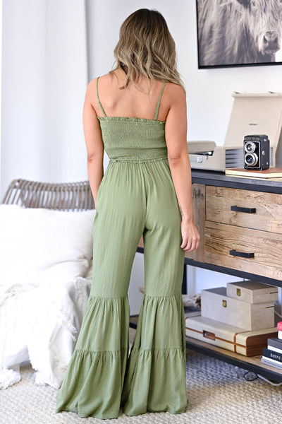 Stand Your Ground Jumpsuit - Olive womens trendy adjustable strap closet candy back