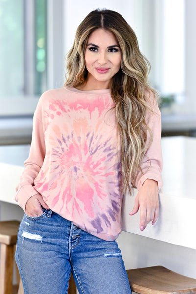 Cozy Mornings Tie Dye Top - Blush womens casual tie dye long sleeve top closet candy front 2