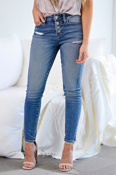 VERVET Haylie Distressed Skinny Jeans - Medium Wash womens casual exposed button cropped skinny jeans closet candy front 2