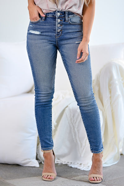 VERVET Haylie Distressed Skinny Jeans - Medium Wash womens casual exposed button cropped skinny jeans closet candy front