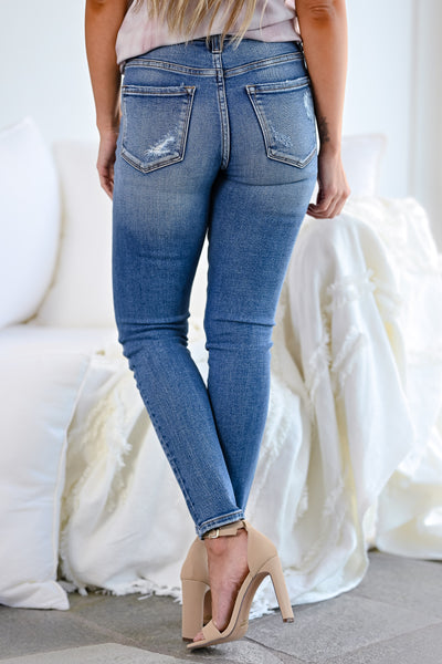VERVET Haylie Distressed Skinny Jeans - Medium Wash womens casual exposed button cropped skinny jeans closet candy back