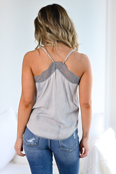 LOVE STITCH Slice Of Heaven Tie Dye Cami - Grey Sky womens trendy lace detail adjustable strap cami closet candy back